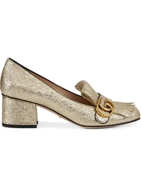 3ba1cef70b Gucci Women's Marmont Metallic Mid-Heel Pumps   ModeSens