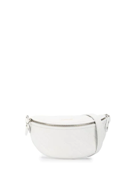 Balenciaga 'souvenir Xxs' Logo Embossed Leather Bum Bag In 9002 White