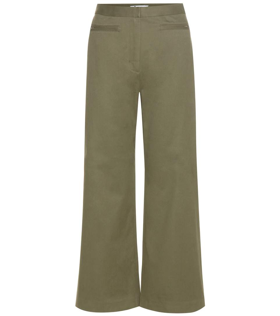 T By Alexander Wang High-Waisted Cotton-Blend Trousers In Fatigue