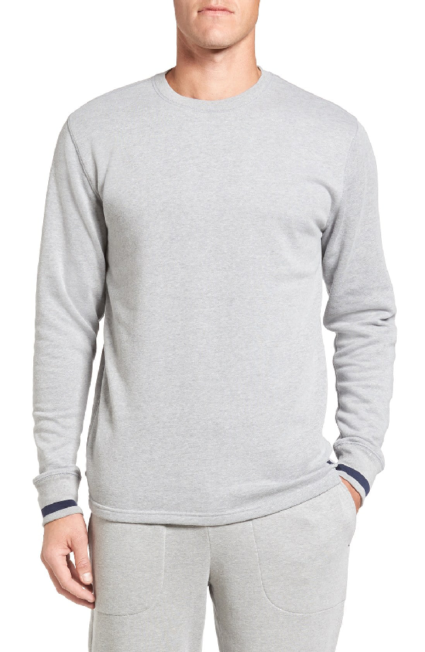 a90a96b8 Polo Ralph Lauren Brushed Jersey Cotton Blend Crewneck Sweatshirt In  Andover Heather Grey