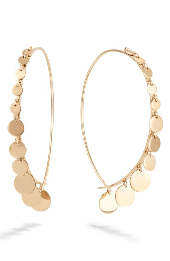 Lana Dangling Disc Upside Down Earrings In Yellow Gold