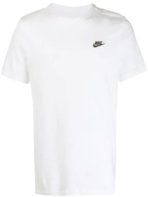 Nike Logo-embroidered Cotton-jersey T-shirt In White