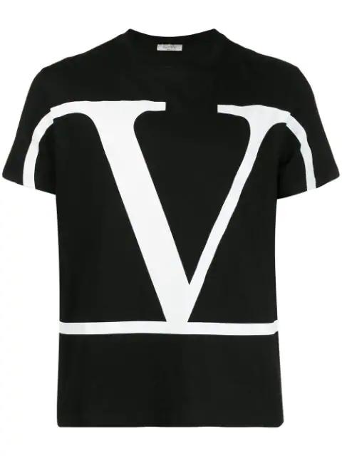 Valentino V Logo Print Cotton Jersey T Shirt In 0Ni Black