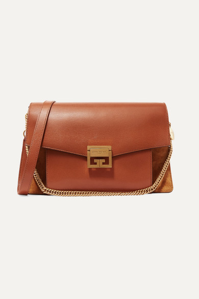 Givenchy Gv3 Medium Textured-leather And Suede Shoulder Bag In Tan