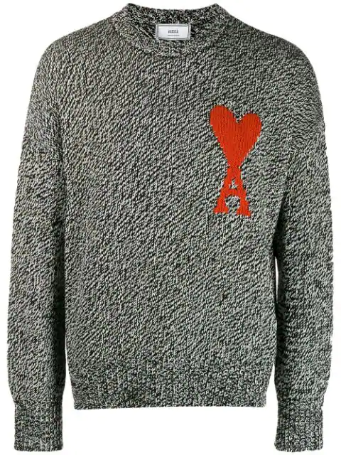 Ami Alexandre Mattiussi Oversized Logo-Intarsia Cotton And Merino Wool-Blend Sweater In Black