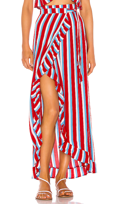 Lovers & Friends Waves For Days Wrap Skirt In Americana Stripe