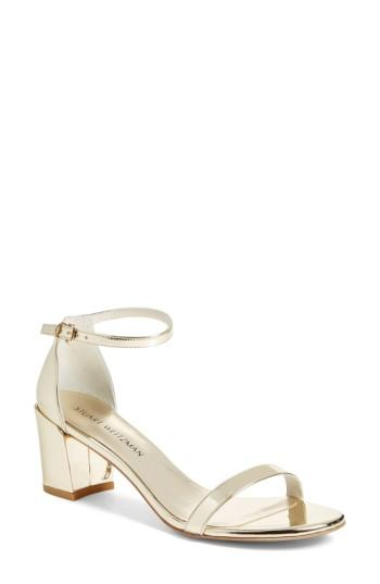 Stuart Weitzman Simple Ankle Strap Sandal In Palegold Glass