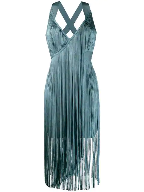 Herve Leger Fringed Midi Dress In 427 Blue