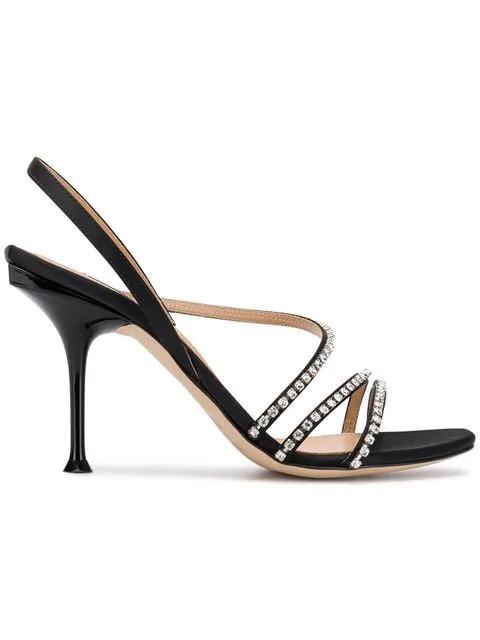 Sergio Rossi Women's Crystal-Embellished High-Heel Slingback Sandals In Black