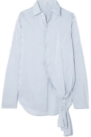 Loewe Asymmetric Striped Silk Shirt In Blue