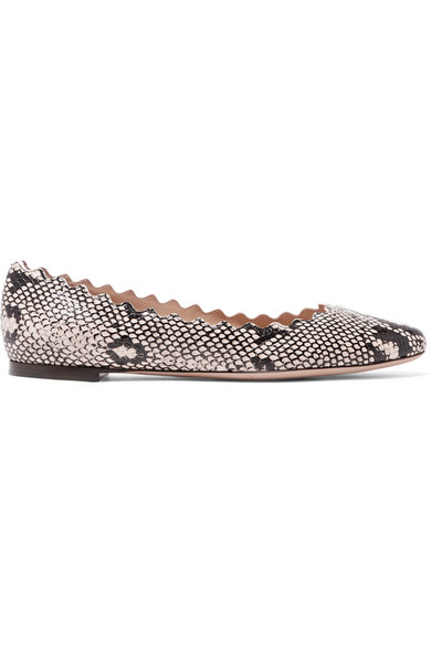 ChloÉ Lauren Scalloped Snake-Effect Leather Ballet Flats In Neutrals