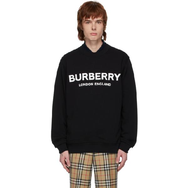 Burberry Zip Detail Horseferry Print Cotton Sweatshirt In Black
