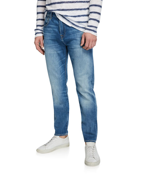 7 For All Mankind Men's Slimmy Straight-leg Jeans In Medium Blue