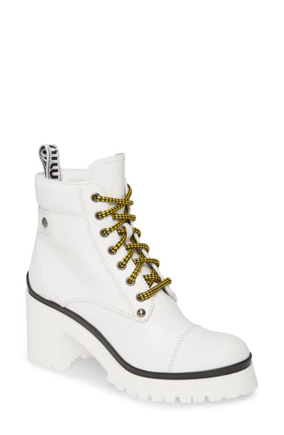 Miu Miu Women's Never Mind Block Heel Hiking Boots In White Leather