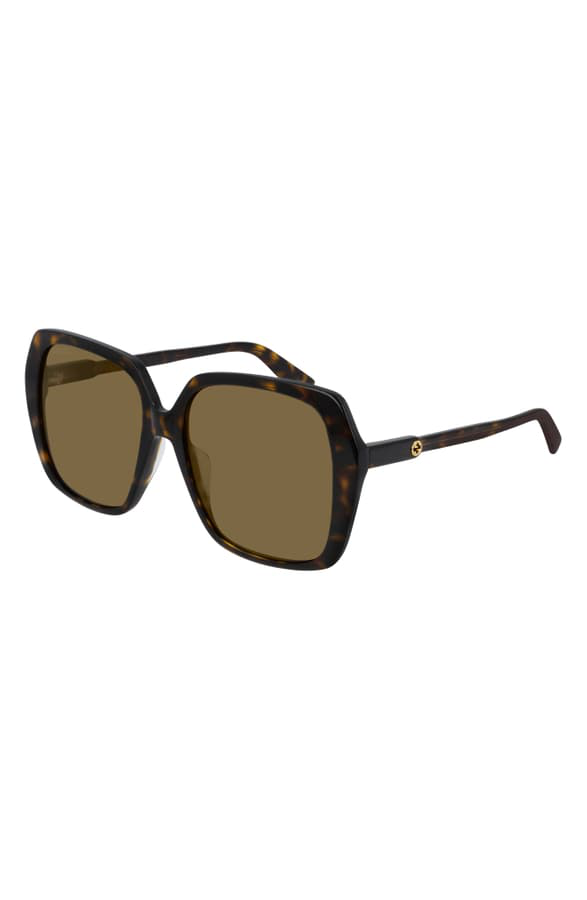 Gucci 56Mm Square Sunglasses In Shiny Dark Havana/ Brown Solid