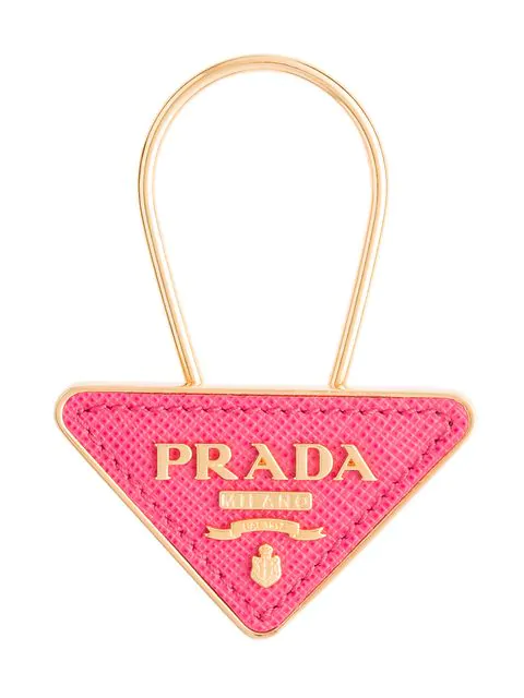 Prada Saffiano Leather And Metal Keychain In Pink