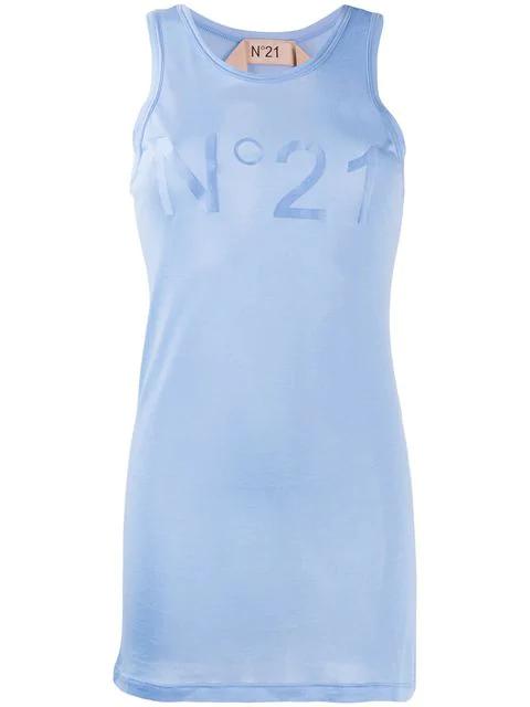 N°21 Logo Vest Top In Blue