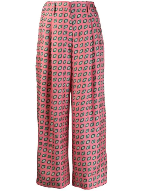 Etro Diamond Pattern Cropped Trousers In Pink