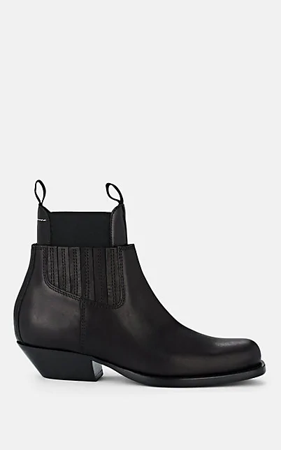 Maison Margiela Leather Ankle Boots In Black