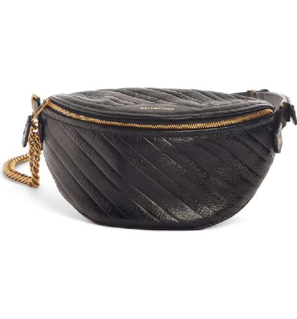 Balenciaga Extra Extra-small Souvenir Quilted Leather Belt Bag In Black