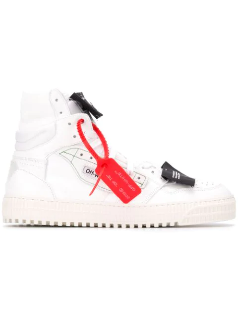 "Off-White ""Off-Court"" 3.0 White Leather Hi-Top Sneakers In 0100 White"