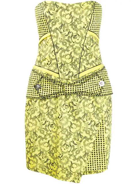 Versace Barocco Print Strapless Dress In Yellow