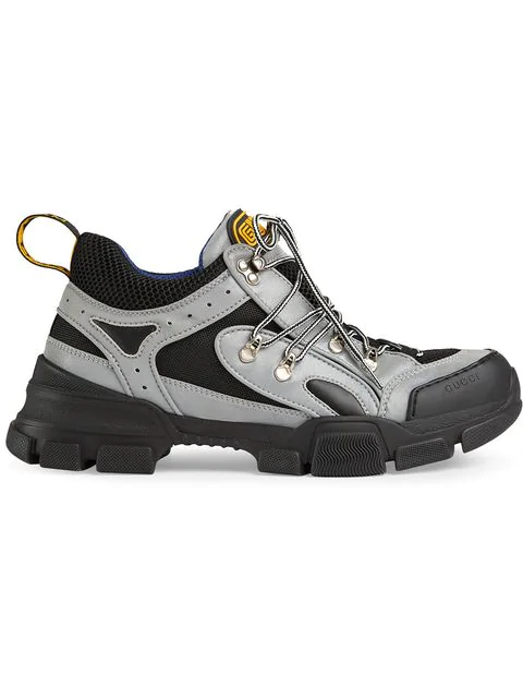 Gucci Flashtrek Black And Grey Leather And Reflective Canvas Sneakers In Silver