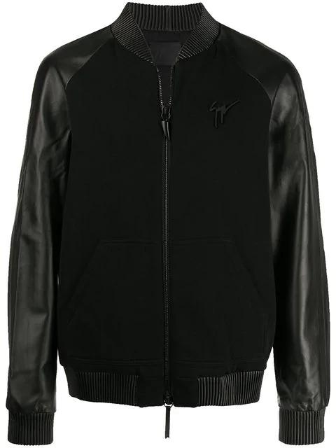 Giuseppe Zanotti Mixed Fabric Biker Jacket In Black