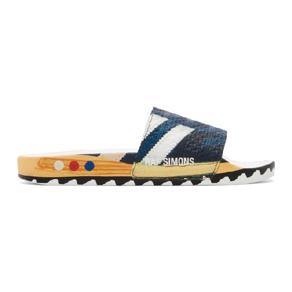 Raf Simons + Adidas Originals La Adilette Printed Textured-rubber Slides In 00043 Navy