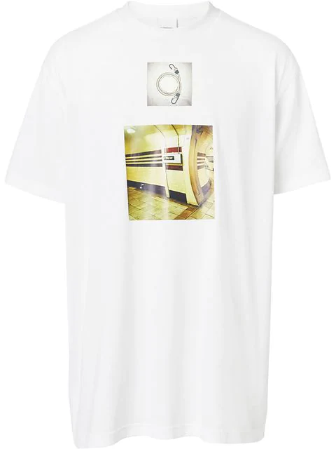 Burberry Montage Print Cotton Oversized T-Shirt In White