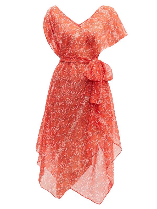 Diane Von Furstenberg Serena Snake-print Silk-crepe Midi Dress In Orange