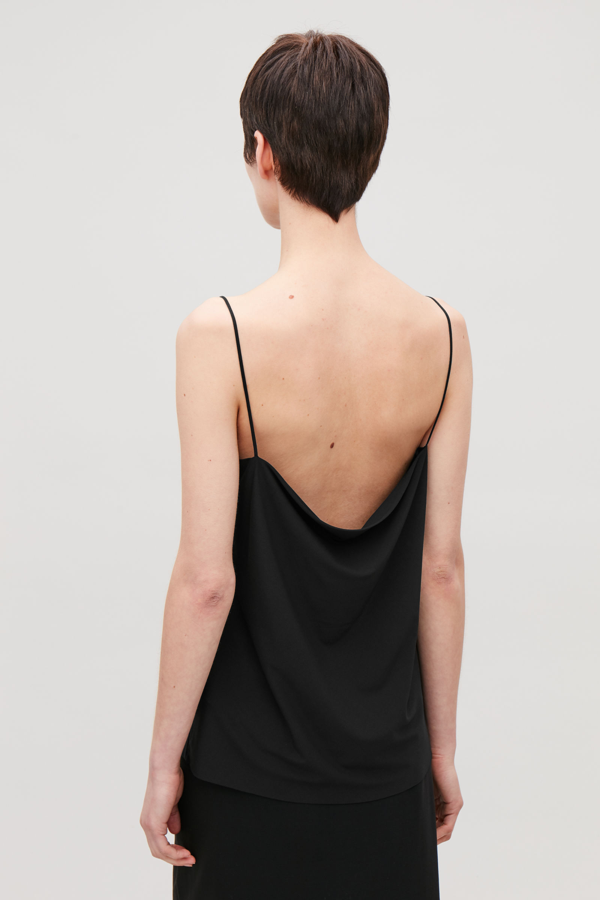 Cos Jersey Top With Narrow Straps In Black