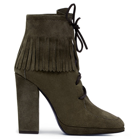 Giuseppe Zanotti - Grey Suede Boot With Fringes And Laces Clare In Brown