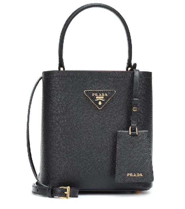 Prada Small Saffiano Leather Bucket Bag - Black