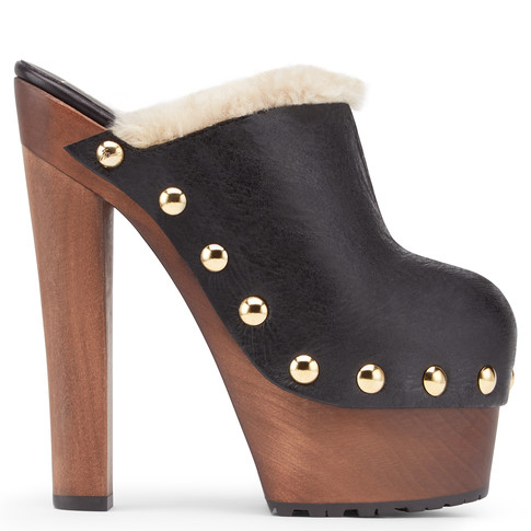Giuseppe Zanotti - Calf Leather Clog With Shearling Lining Tropez In Black