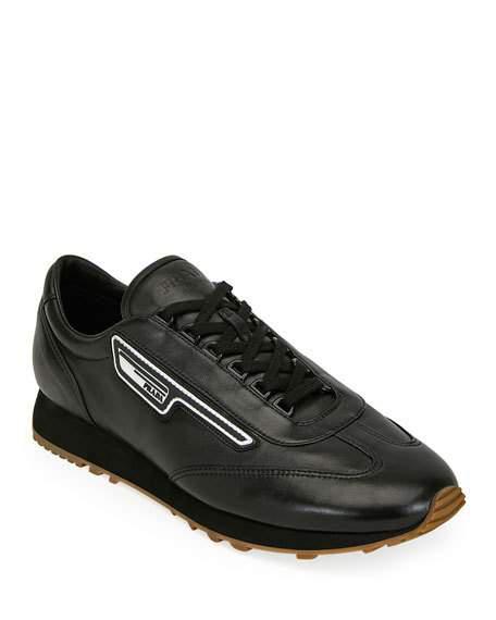Prada Men's Nappa Sport Leather Runner Sneaker In Nero