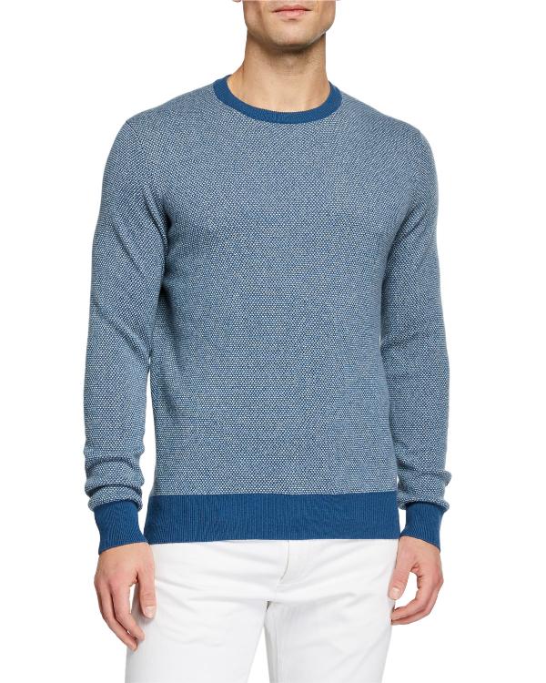 Loro Piana Men's Girocollo Birdseye Crewneck Baby Cashmere Sweater In Blue