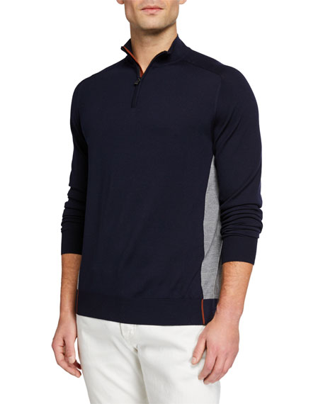 Loro Piana Men's Matches Athletic-inspired Sweater In Blue/gray