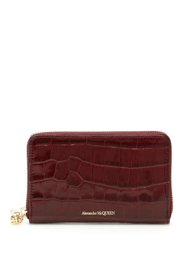 Alexander Mcqueen Skull Zip-Around Wallet In Red