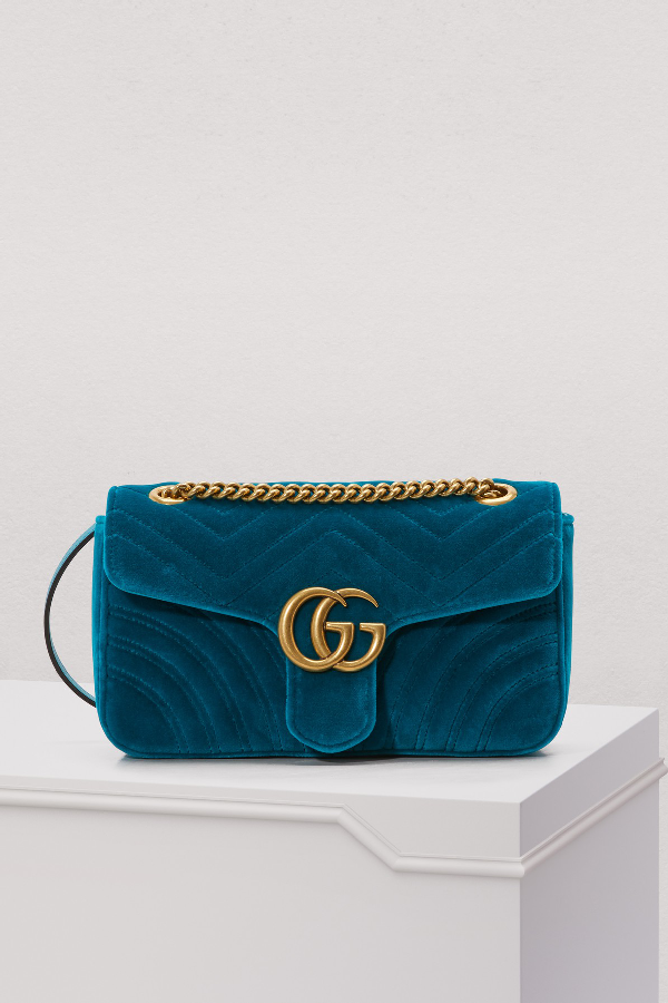 Gucci Medium Gg Marmont 2.0 MatelassÉ Velvet Shoulder Bag In Petrol