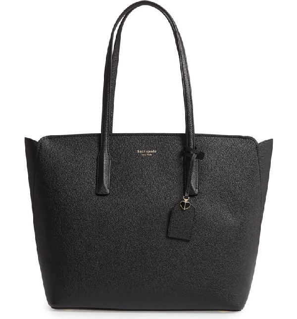 Kate Spade Margaux Grained Leather Tote Bag In Black