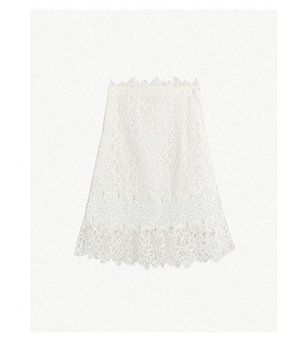 Sandro Eyelash-Edge Lace Mini Skirt In Nude