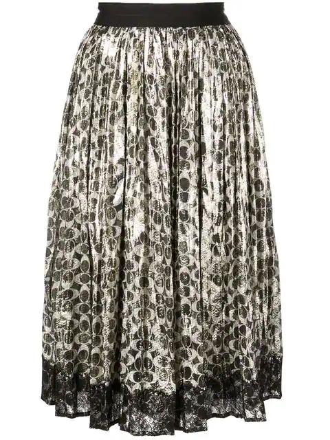 Coach Metallic Pleated Logo-Print Skirt In O48 Sig C