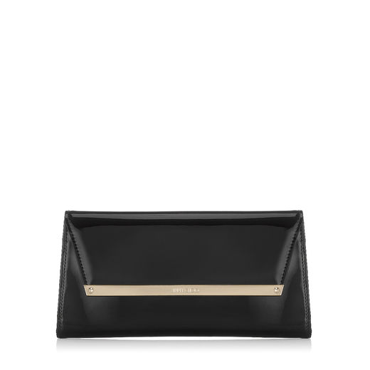 Jimmy Choo Margot Black Patent And Suede Clutch Bag
