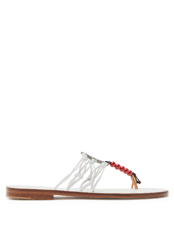 Álvaro González X Kim Hersov Kima Leather Sandals In White
