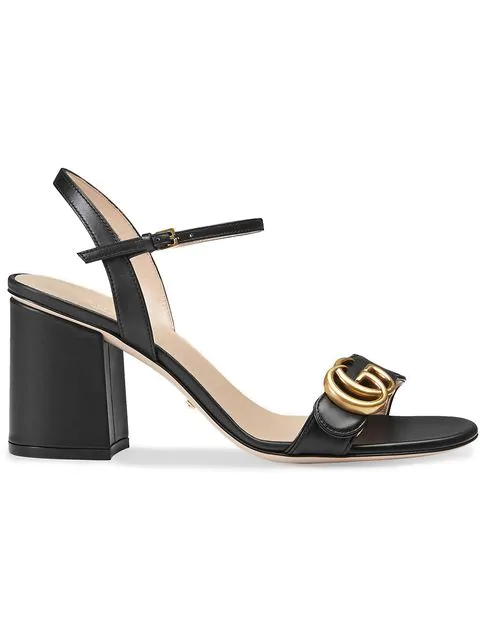 Gucci Marmont Logo-Embellished Leather Sandals In 1000 Nero