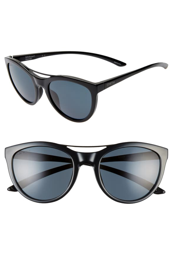 Smith Midtown 53mm Chromopop(tm) Polarized Cat Eye Sunglasses In Black/ Black