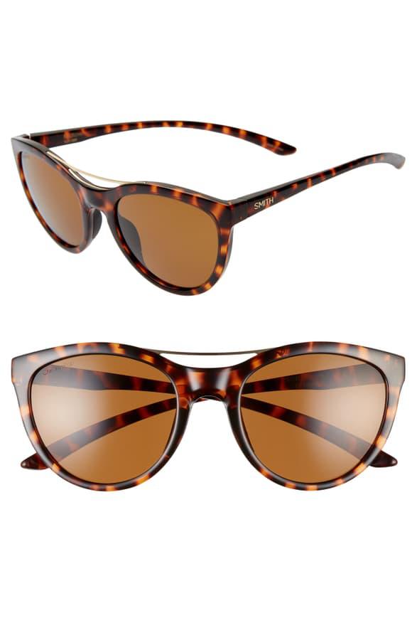 Smith Midtown 53mm Chromopop(tm) Polarized Cat Eye Sunglasses In Dark Tortoise/ Brown
