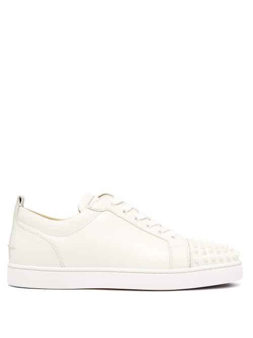 Christian Louboutin Louis Junior Spike-Embellished Leather Trainers In White