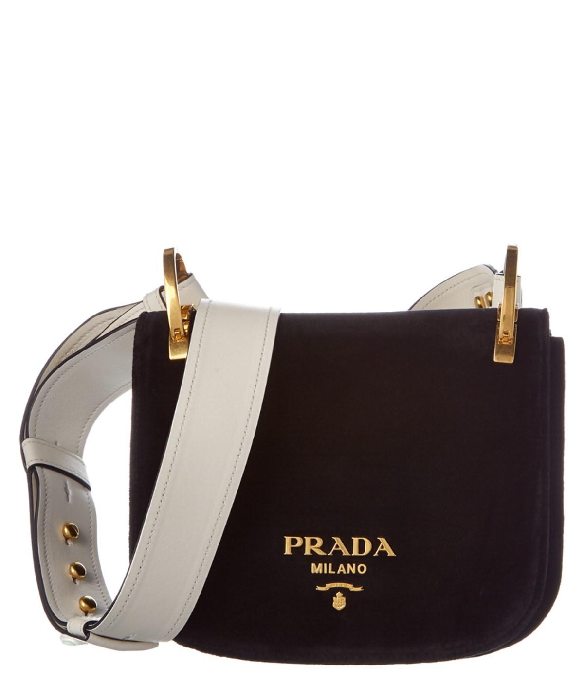 00f7da86359b Prada Pionniere Velvet Saddle Bag' In Black   ModeSens